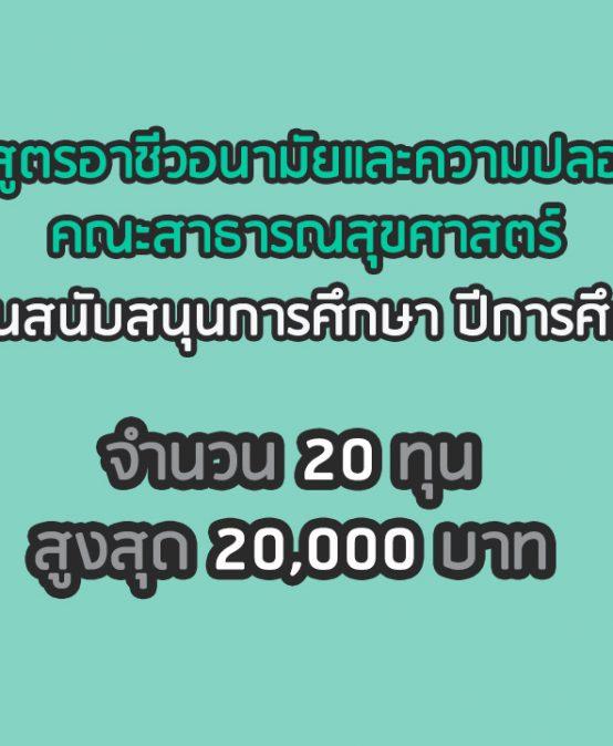 ประกาศทุนสนับสนุนการศึกษา ประจำปีการศึกษา 2562